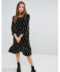 STYLE NANDA   Декорированное Свободное Платье С Рюшами По Низу Stylenanda