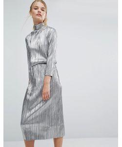 First & I | Плиссированное Платье Миди Цвета Металлик