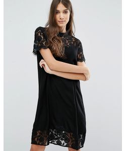 Vila | Кружевное Платье С Высокой Горловиной