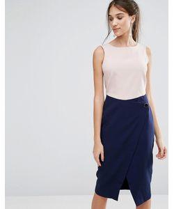Closet London | Платье С Контрастной Юбкой С Запахом На Пуговице Closet