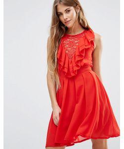 Wal G | Кружевное Приталенное Платье С Оборками