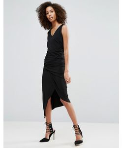 Liquorish | Черное Платье Без Рукавов С V-Образным Вырезом И Сборками
