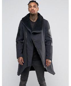 BLACK KAVIAR | Асимметричное Шерстяное Пальто С Воротником Борг