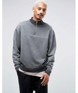 Asos | Oversized Sweatshirt With Half Zip Collar
