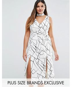 Lavish Alice Plus | Платье Миди С Двумя Разрезами И Абстрактным Принтом