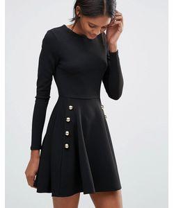 Club L | Короткое Приталенное Платье Из Крепа В Стиле Милитари