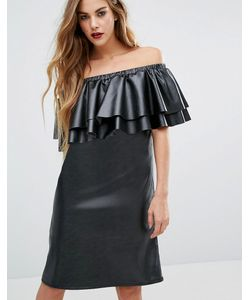 First & I | Платье Из Искусственной Кожи С Оборкой Вдоль Широкого Выреза First