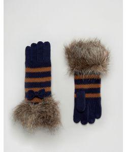 Alice Hannah | Перчатки В Полоску С Меховой Отделкой