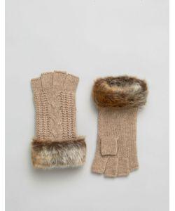 Alice Hannah | Перчатки С Узором Косичка И Меховой Отделкой