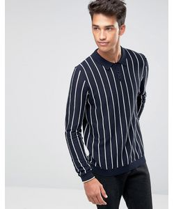 Asos   Knitted Cotton Polo Neck Jumper With Pinstripe
