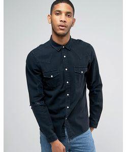 Asos | Черная Джинсовая Рубашка В Стиле Вестерн С Рваной Отделкой