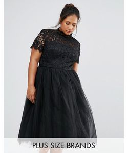 Chi Chi Plus | Chi Chi London Plus High Neck Lace Bodice Midi Dress