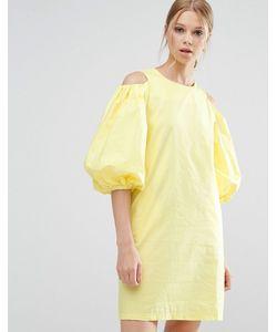 Style Mafia | Желтое Платье С Вырезами На Плечах