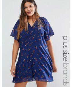 Yumi Plus | Чайное Платье С Принтом Птиц