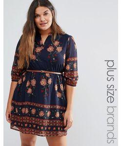 Yumi Plus   Платье С Цветочным Принтом По Краю И Поясом