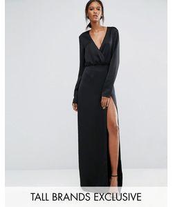 Taller Than Your Average | Черное Платье Макси С Запахом Длинными Рукавами И Разрезом До Бедра