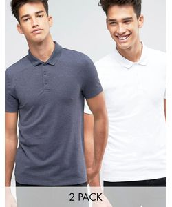 Asos | 2 Pack Pique Muscle Polo Shirt Save 10 In Navy