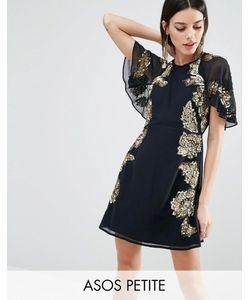 ASOS PETITE | Короткое Приталенное Платье С Цветочной Отделкой И Рукавамибабочка
