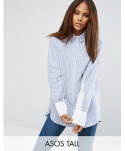 ASOS TALL | Oversized Stripe Shirt With Contrast Batwing Sleeve