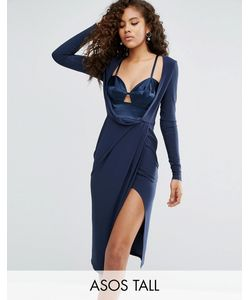 ASOS TALL | Satin Bra Insert Long Sleeve Crepe Wrap Midi Dress
