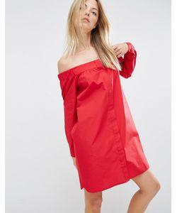 Asos | Платье-Рубашка С Открытыми Плечами