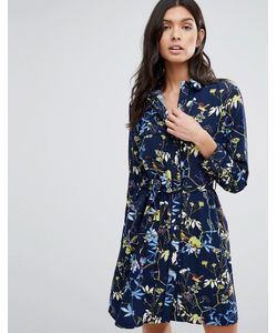 Liquorish | Print Long Sleeve Shirt Dress