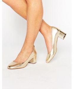 Aldo   Золотистые Кожаные Туфли На Среднем Каблуке Falia