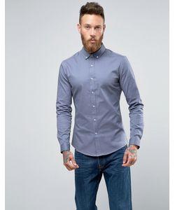 Asos | Синяя Облегающая Рубашка Из Саржи
