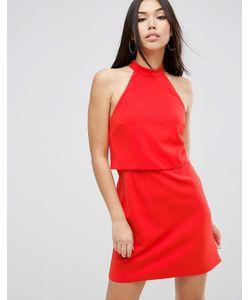 Asos | Платье Мини С Кроп-Топом И Высокой Горловиной
