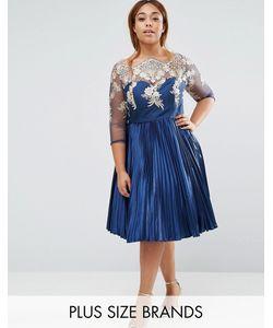 Chi Chi Plus | Плиссированное Платье Миди Chi Chi London Plus