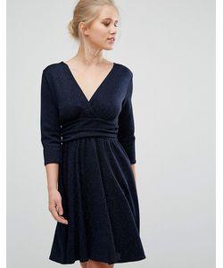 Closet London | Closet 3/4 Length Sleeve Chevron Textured Dress