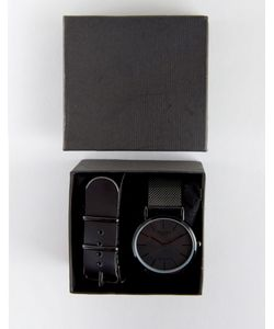 Reclaimed Vintage | Черные Часы С Сетчатым И Сменным Кожаным Ремешком В Подарочном Наборе