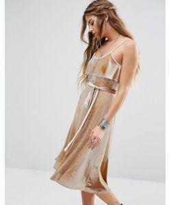 Glamorous | Бархатное Платье Миди На Тонких Бретельках