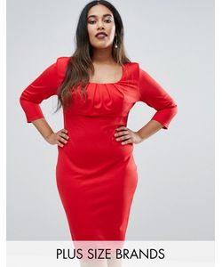 Goddiva plus | Платье-Футляр С Плиссировкой На Груди