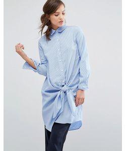 Parallel Lines | Платье-Рубашка В Тонкую Полоску С Завязкой Спереди
