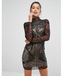 MISSGUIDED | Облегающее Платье С Высоким Воротом Peace Love