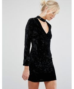 Parisian | Бархатное Облегающее Платье С Отделкой На Горловине