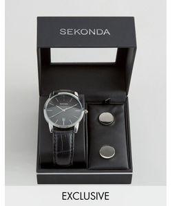 Sekonda | Часы С Черным Кожаным Ремешком И Запонки В Подарочном Наборе