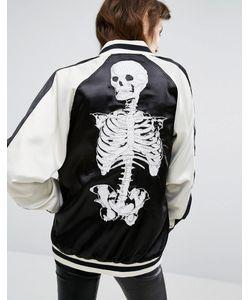Tripp Nyc | Skull Print Reversible Bomber Jacket