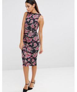 Vesper | Платье-Футляр Без Рукавов С Цветочным Принтом И Сборками