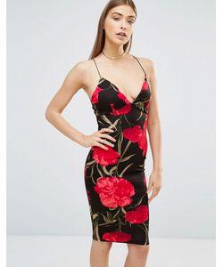 AX Paris | Платье Миди С Глубоким Декольте И Принтом Роз