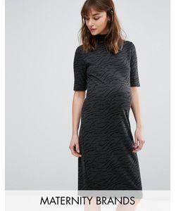 Mama Licious | Фактурное Платье Для Беременных С Высокой Горловиной И Короткими Рукавами Mamalicious