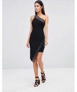 Rare | Асимметричное Платье Мини С Полосками Из Сеточки