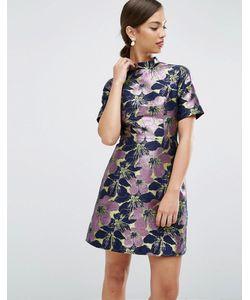 Asos | Жаккардовое Платье Мини С Высокой Горловиной