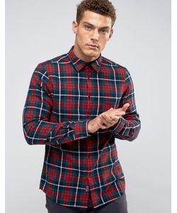 Jack Wills | Красно-Зеленая Фланелевая Рубашка Классического Кроя В Клетку Тартан Salcombe