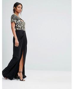 Virgos Lounge | Декорированное Платье Макси С Вырезом Сердечком И Запахом На Юбке Virgos