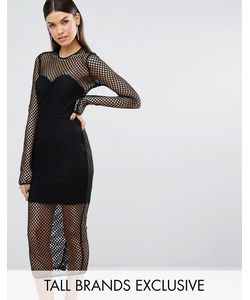 Taller Than Your Average | Ttya Atlanta Long Sleeve Mesh Detail Slim Midi Dress