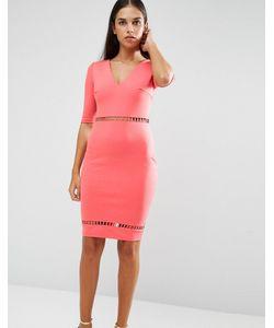 AX Paris   Облегающее Платье С Отделкой Лесенка