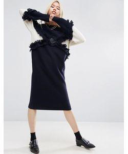 ASOS WHITE | Трикотажное Платье Миди С Бахромой