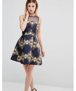 AX Paris | Короткое Приталенное Платье С Сетчатой Вставкой И Принтом